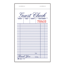 Adams Guest Check Books 1 Part