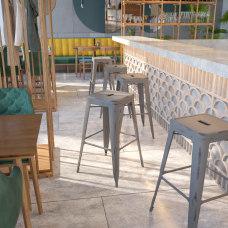 Flash Furniture Backless Distressed Bar Stool