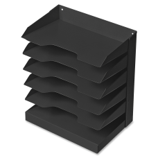 Steel Horizontal File 6 Shelf Black