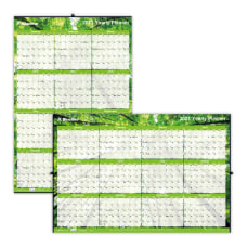 Blueline Laminated ErasableReversible Yearly Wall Calendar