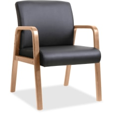 Lorell Wood Bonded Leather Guest Chair
