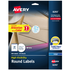 Avery Permanent High Visibility Labels 8293