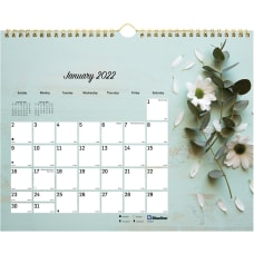 Blueline Romantic Floral Wall Calendar Julian