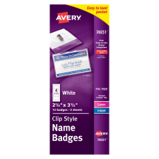 Avery Clip Style Name Badges TopSide