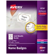 Avery Adhesive Name Badges Metallic Borders