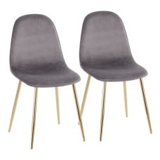 LumiSource Pebble Velvet Chairs GrayGold Set