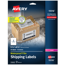 AveryR Waterproof Shipping Labels With Ultrahold
