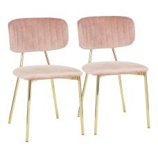 LumiSource Bouton Chairs GoldBlush Pink Set