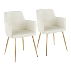LumiSource Andrew Dining Chairs GoldCream Set