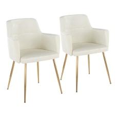 LumiSource Andrew Dining Chairs GoldCream Set