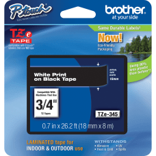 Brother TZe 345 White On Black