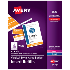 Avery Vertical Name Badge Inserts 6