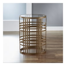 FirsTime Co Woven Brass Side Table
