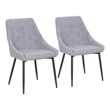 LumiSource Diana Corduroy Chairs Gray SeatBlack