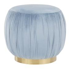 LumiSource Ruched Ottoman GoldPowder Blue