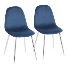 LumiSource Pebble Velvet Chairs BlueChrome Set