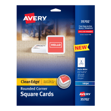 Avery Inkjet Square Cards With Rounded