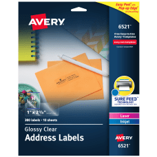 Avery Glossy Permanent Labels 6521 Mailing