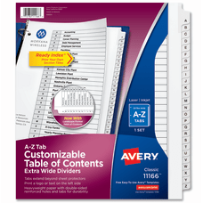 Avery Customizable Table of Contents Extra