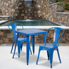Flash Furniture Square Metal Indoor Outdoor