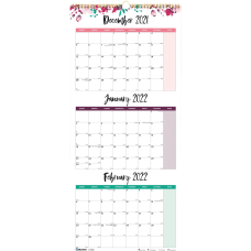 Blueline 3 Month Colorful Wall Calendar