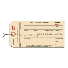 Prewired Manila Inventory Tags 1 Part