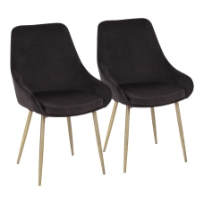 LumiSource Diana Contemporary Chairs BrassBlack Set