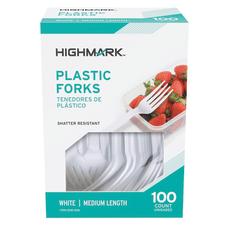 Highmark Medium Length Plastic Cutlery Forks