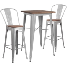 Flash Furniture Square MetalWood Bar Table