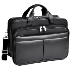 McKlein Walton Leather Expandable Briefcase Black
