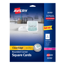 Avery Laser Square Cards with Rounded