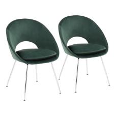 LumiSource Metro Velvet Chairs GreenChrome Set