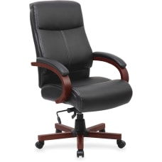Lorell Executive Bonded LeatherWood Chair BlackMahogany