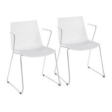 LumiSource Matcha Chairs ChromeWhite Set Of