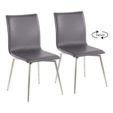LumiSource Mason Upholstered Chairs GrayStainless Steel