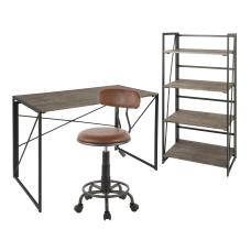 LumiSource Dakota Desk Set BlackBrownAntique