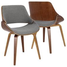 LumiSource Fabrizzi Chair Gray SeatWalnut Frame