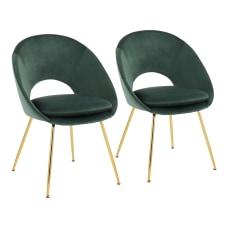 LumiSource Metro Velvet Chairs GreenGold Set