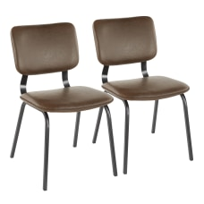 LumiSource Foundry Chairs BlackEspresso Set Of