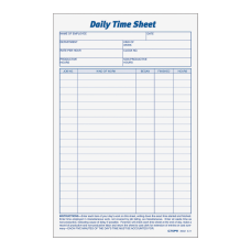 TOPS Daily Time Sheet Forms 95