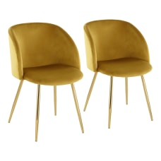 LumiSource Fran Dining Chairs ChartreuseGold Set