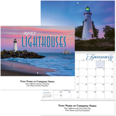 Lighthouses Stitched Wall Calendar