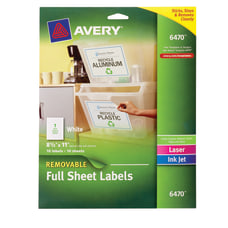 Avery Removable Full Sheet Labels 6470