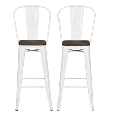 DHP Luxor Metal Bar Stools White