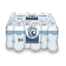 Deals on Office Depot Purified Water, 16.9-Oz Case Of 24 Bottles