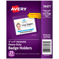 Avery Badge Holders Horizontal Prepunched 3