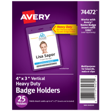 Avery Badge Holders Vertical Prepunched 3