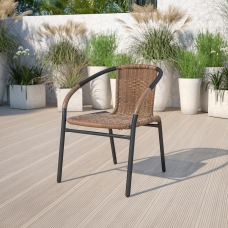 Flash Furniture Rattan Stack Chair BlackMedium
