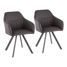 LumiSource Clubhouse Pleated Chairs BlackCharcoal Set