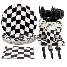 Disposable Dinnerware Set Serves 24 Checkered